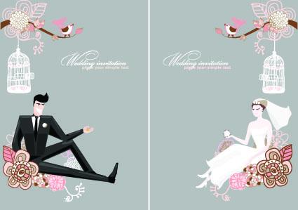 Stylish Wedding card design elements 01 free download