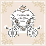 Link toWedding invitation with carriage design vector 01