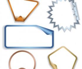 White frames Stickers design vector 01