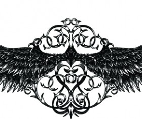 Draw Wings Ornaments design vector 02