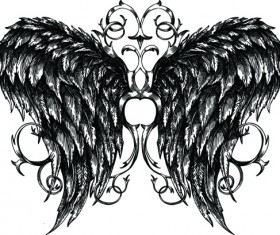 Draw Wings Ornaments design vector 03