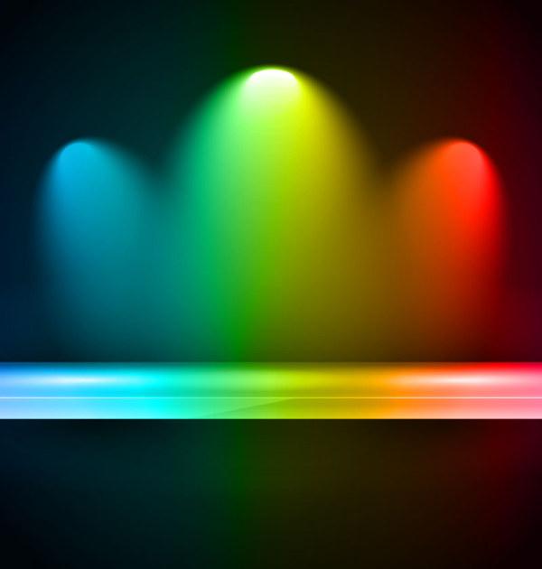 Rainbow Stage Spotlights Vector Background 04 Vector