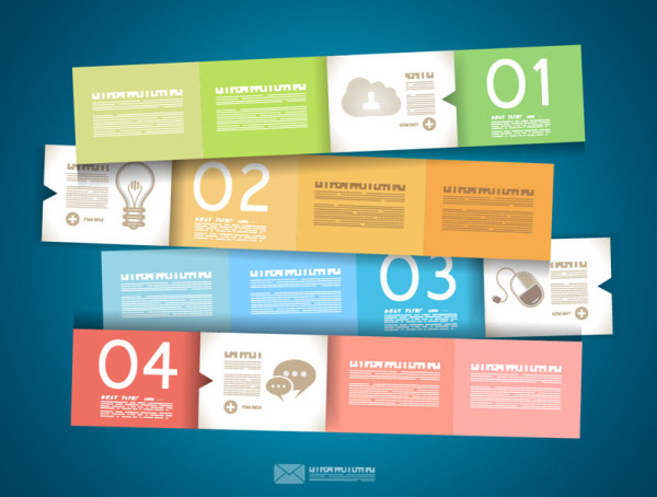Numbered infographics elements vector 09