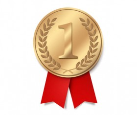Gold medal with Ribbon psd