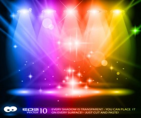 Rainbow Stage spotlights vector background 02