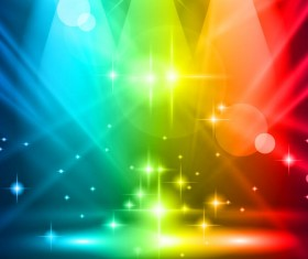 Rainbow Stage spotlights vector background 03