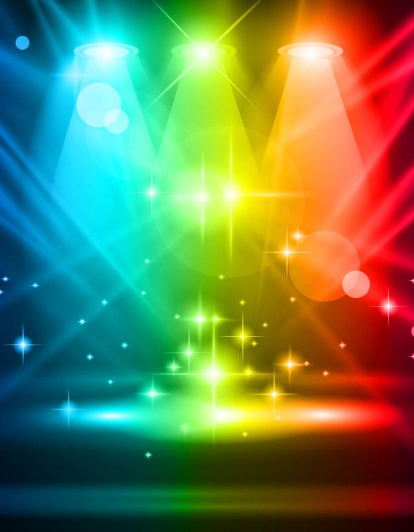 Rainbow Stage Spotlights Vector Background 03