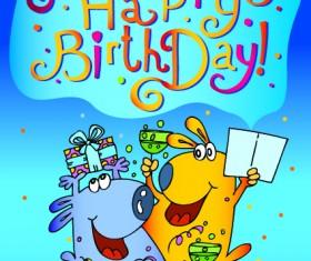 Funny cartoon birthday cards vector 01