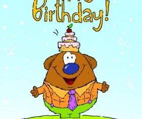 Funny cartoon birthday cards vector 02