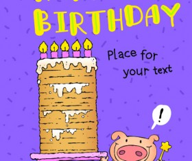 Funny cartoon birthday cards vector 03