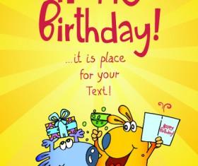 Funny cartoon birthday cards vector 04