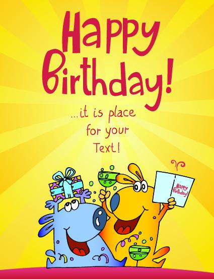 Funny Cartoon Birthday Cards Vector 04 Free Download