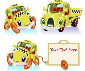 Tag car cartoon vector set 03