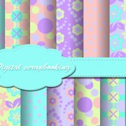 Link toSet of flower paper for scrapbook vector material 01