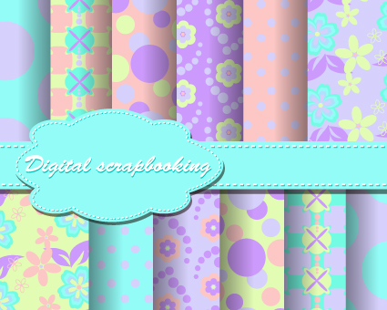 set of flower paper for scrapbook vector material 01 – over, Modern powerpoint