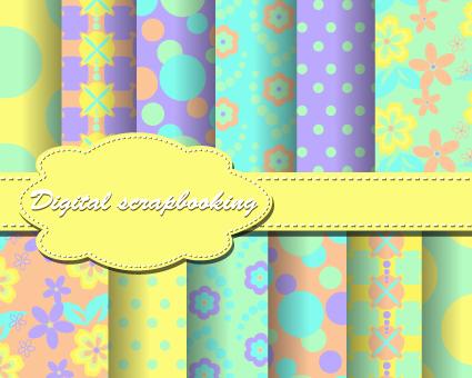 Set of Flower paper for scrapbook vector material 05