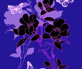 Hand drawn flowers vector backgrounds art 02
