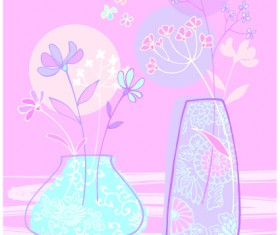 Hand drawn flowers vector backgrounds art 04