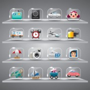 Link toCute glass icons vector graphics 05