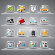Link toCute glass icons vector graphics 06