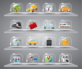 Cute glass icons vector graphics 06