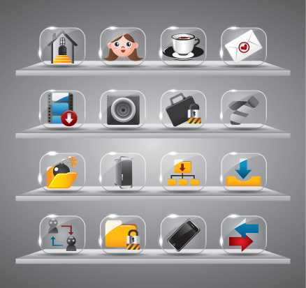 Cute glass icons vector graphics 03