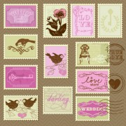 Link toPostcard love with stamp vector 01