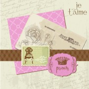Link toPostcard love with stamp vector 03