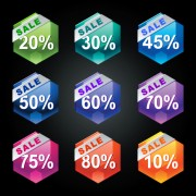Link toShiny sticker discount design vector graphic 03