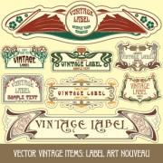 Link toVintage label art design vector set 09