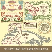 Link toVintage label art design vector set 11
