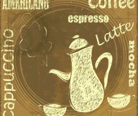 Retro coffee line vector