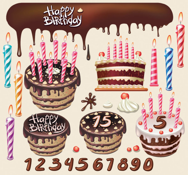 Beautiful Birthday Cake Design Elements Free Download