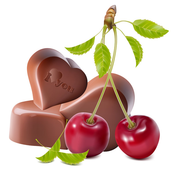 Chocolate and cherry - Vector Food free download - 웹