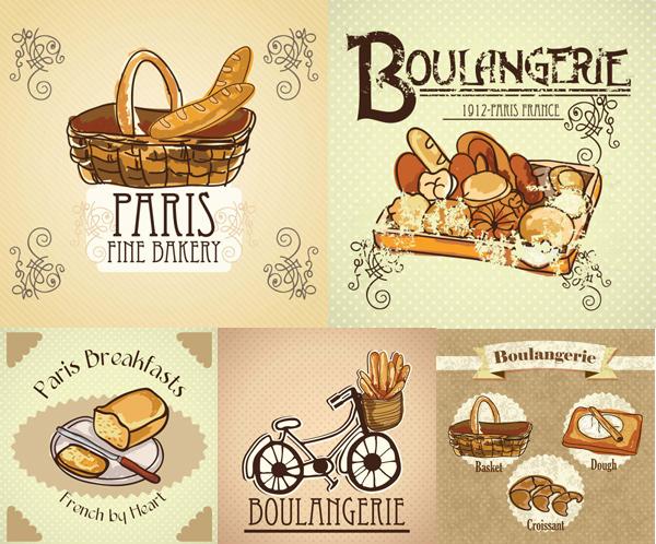 Cartoon illustration of bread vector set