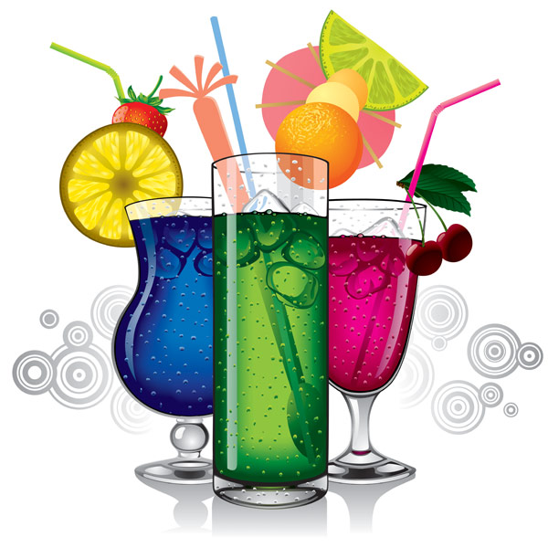 Colorful drinks vector graphics