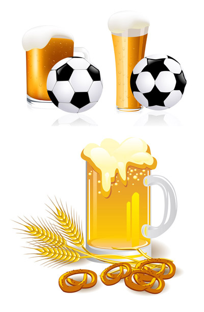 Beer and football vector set