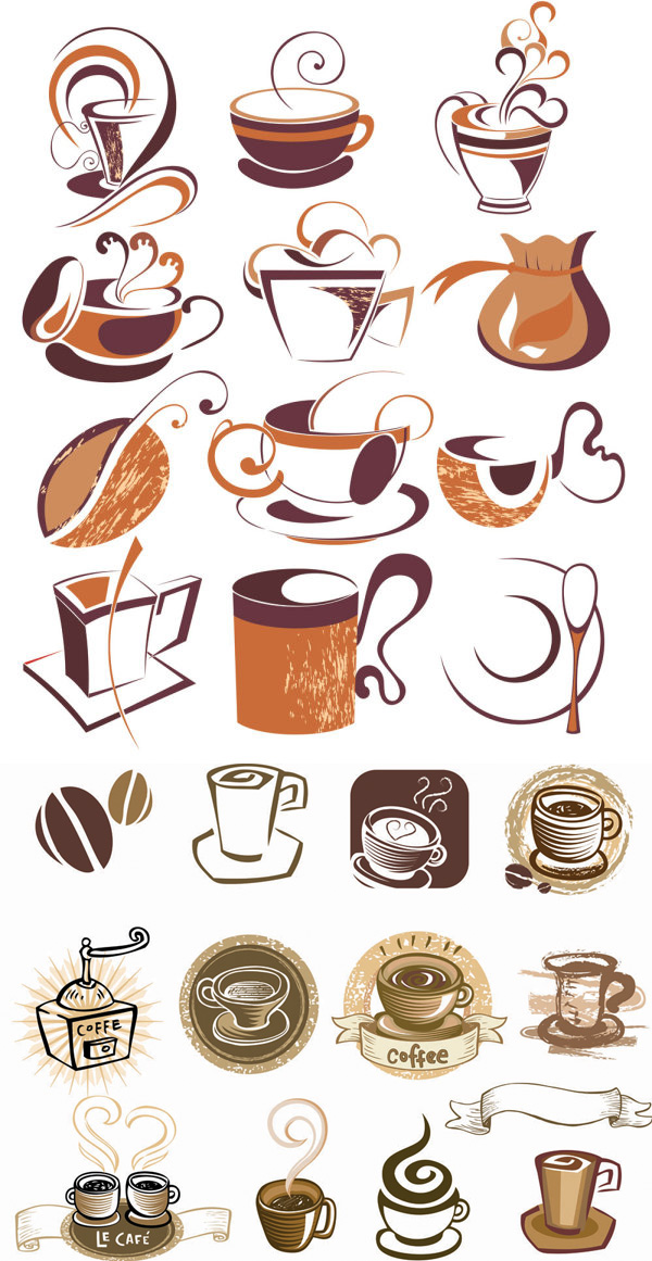 Line coffee elements vector graphic