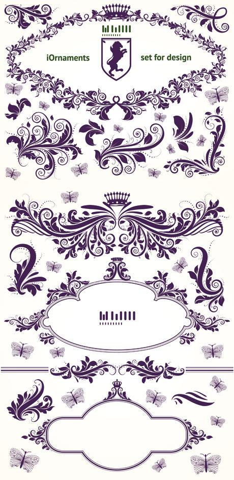 Vintage Floral Patterns Vector Material