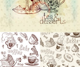 Hand-drawn tableware and food vector graphic
