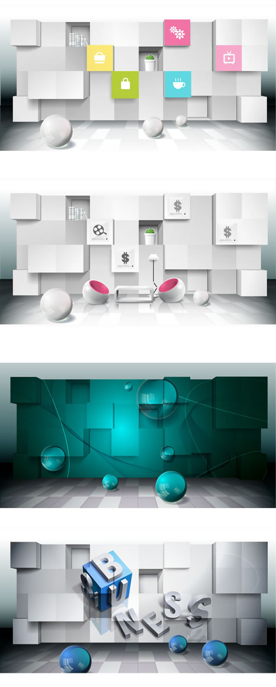 Three dimensional space business posters Vector Graphic