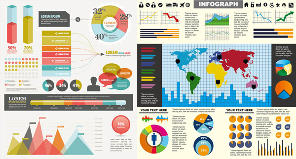 chart elements of color vector graphic