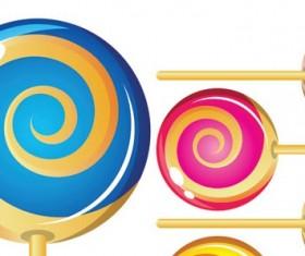 Color lollipop vector set