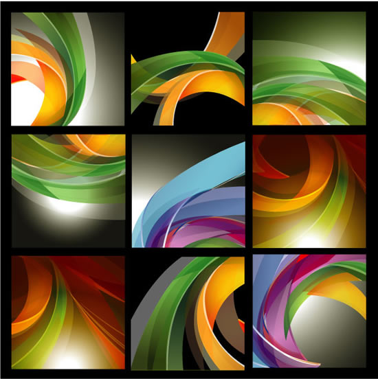 Colorful ribbons background vector material
