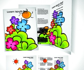 Cartoon style Brochure cover template vector 03
