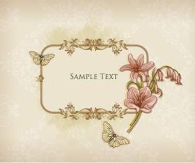 Floral Frames vector backgrounds set 06