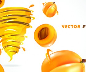 Fruit with Juice vector set 05