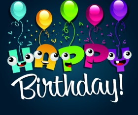 Happy birthday balloons of greeting card vector 02