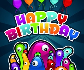 Happy birthday balloons of greeting card vector 05