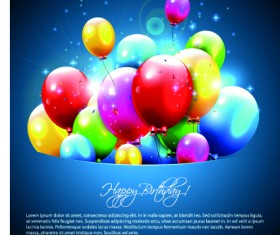 Happy birthday balloons of greeting card vector 06
